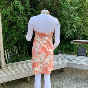 GAP Dresses - Salmon & tan Hawaiian print short halter  dress